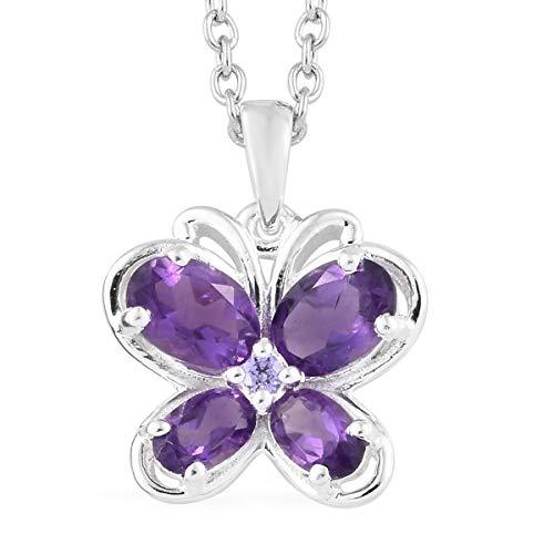 Oval Amethyst Cubic Zircon CZ Purple Butterfly Chain Pendant Necklace for Women 20