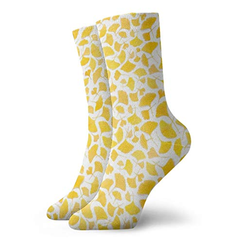 Classics Compression Socks,Yellow Ginkgo Leaves Sport Athletic 11.8inch(30cm) Long Crew Socks for Men Women