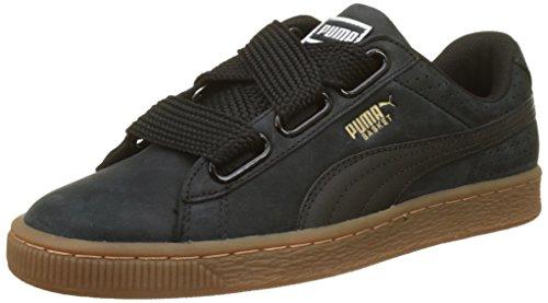 Black Perf Heart Zapatillas gold para Puma Negro Gum Puma Basket Mujer qABw11U4