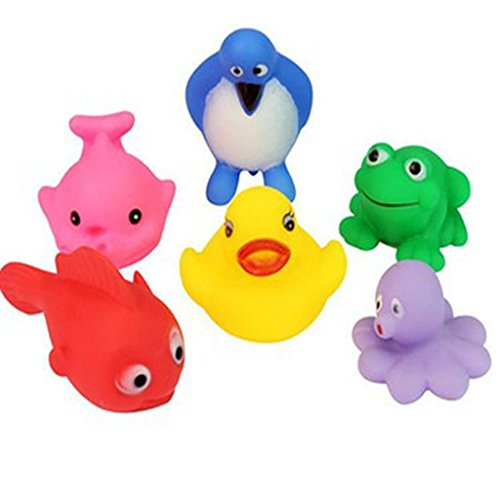 YOYOSTORE 6 Mix Animal Baby Bath Toy Rubber Squeaky Floating Duck Frog Penguin Fish Set Kit ()