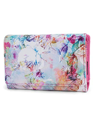 Mundi Small Womens RFID Blocking Wallet Compact Trifold Safe Protection Clutch With Change Purse (Floral Mirage) ()