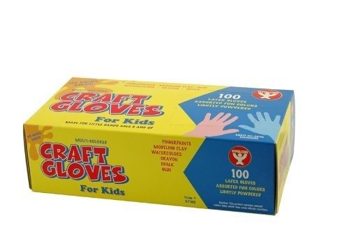 c. Latex Gloves for Kids – Lightly Powdered Assorted Colors – 100 Pack ()