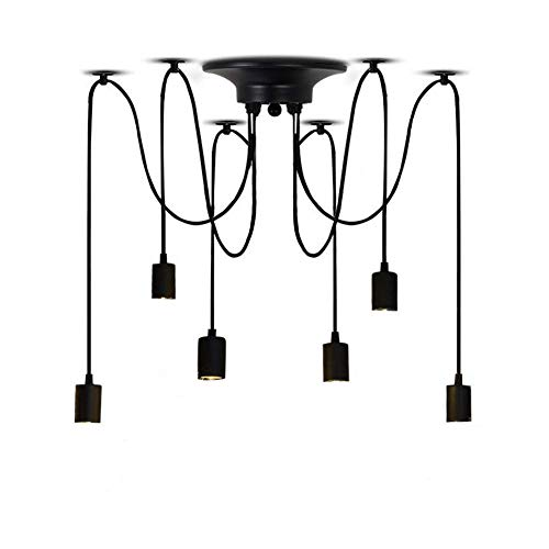 Velouer Spider Pendant Light Fixture with 6 Arms E26/E27 Lamp Holder Ajustable DIY Vintage Classic Ceiling Retro Chandelier Dining Hall Bedroom Hotel,6Pcs Wire Each 70.9Inches