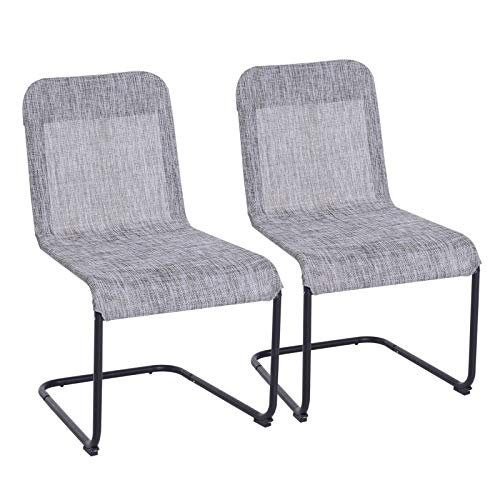 Outsunny Set of 2 Spring Chair Dining Mesh Sling Texteline Fabric Bow - Grey (Patio Spring Chairs)