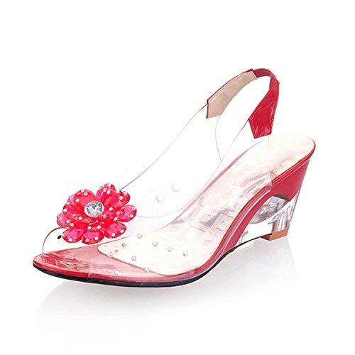 Sky-Pegasus 2018 Size 30-43 Flower peep Toe Wedge Fretwork Heels Woman Shoes Women Fashion Summer Sandals,Red,7.5