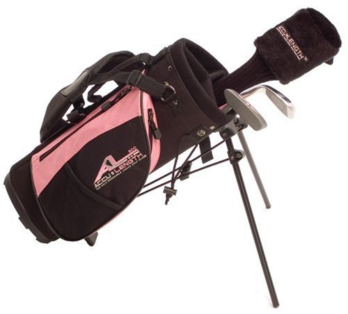 Accu-Length Expandable Junior Clubs AL500 Girl's Starter Set Pink, Height range 36.5″ to 46.5″ (Left-Handed), Outdoor Stuffs