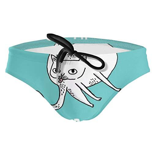Men's Look After Yourself Lip Cat Drawstring Sport Swimsuit Bikini Sexy Swim Trunk Black