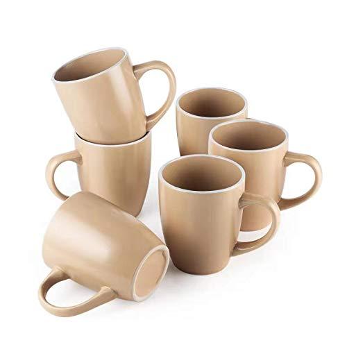 (Ceramic Matt Coffee Mug, Large Handles Porcelain Cup for Tea Cocoa Milk, 12oz, Beige)