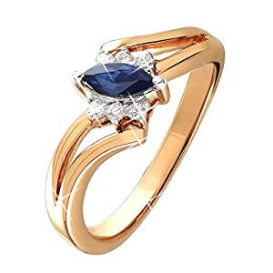 0.40 Ct. Natural White Diamond & Blue Sapphire Engagement Ring Split Shank In 14K Rose Gold For Women