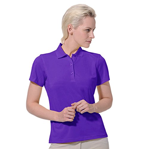Monterey Club Dry Swing Pique Short Sleeve Solid Polo #2060 (Dahila Purple, X-Large) - Womens Tournament Polo Golf Shirt
