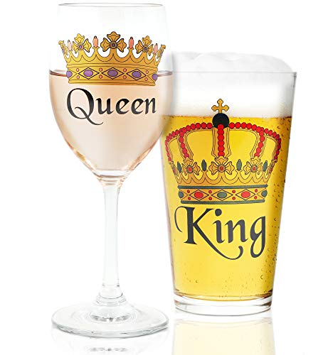 - Juvale King & Queen Crown Design Beer & Wine Drinking Glasses for Couples, Weddings, Housewarming Gifts