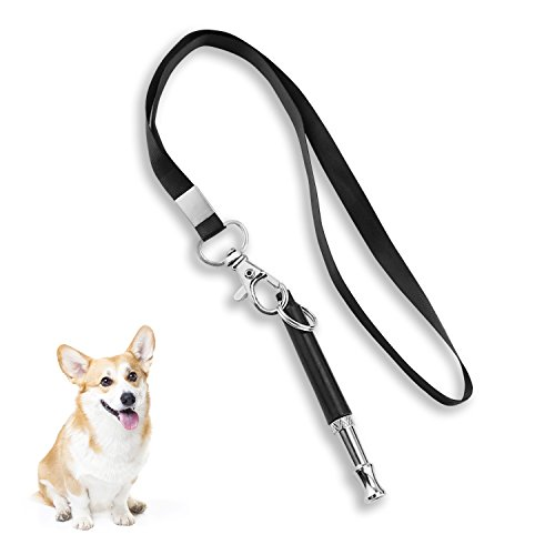 M SANMERSEN Dog Whistle to Stop Barking - Barking Control Ultrasonic Patrol Sound Repellent Repeller Adjustable Pitch in Black Color with FREE Premium Quality Lanyard Strap - Train Your Dog