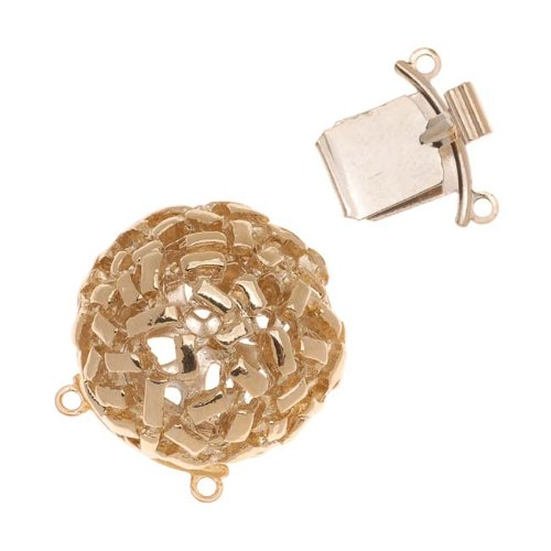 23K Gold Plated 2-Strand Box Clasp - Round Dome With Rectangular Pattern 21x20mm