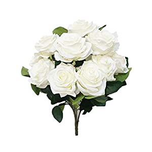 Sweet Home Deco 18'' Princess Diana Rose Silk Artificial Flower Valentine's Day (10 Stems/10 Flower Heads), The Most Beautiful Roses for Wedding/Home Decor (White)