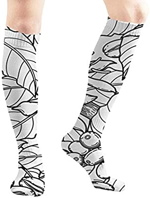 Graphic Coffee Beans Leaves Flowers Food and Drink Nature Unisex Elastic Long Socks Compression Knee High Socks for Sports, Running, Travel 19.7 Inch