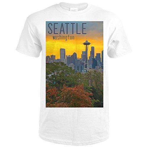 Seattle, Washington - Sunrise over City 50763 (Premium White T-Shirt X-Large) (Rise Lantern City)