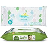 Pampers Sensitive Wipes Travel Pack (18 ct) Bundle with Seventh Generation Flip Top Baby Wipes (30 ct)