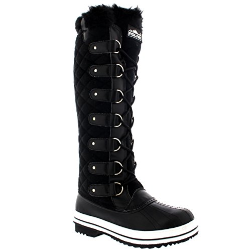 Polar Damen Quilted Knie Hoch Ente Pelz Gefüttert Regen Schnüren Dreck Schnee Winter Stiefel Schwarz Textil