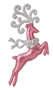 "7"" Pink and Silver Glitter Jumping Reindeer Christmas Ornament"