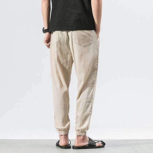 Spbamboo Mens Casual Pants Slim Sports Pants Ankle Length Linen Baggy Trousers by Spbamboo (Image #4)