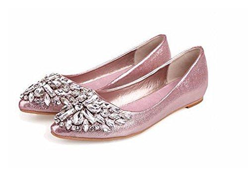Minetom Mujer Chicas Moda Zapatos Apuntado Zapatos Plano El Bling Crystal Ballet Princesa Zapatos Rosa