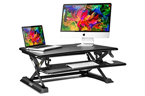 ZHIKE 35'' wide Adjustable Standing Desk / Human Engineering Computer Workstation Ideal for Office and Home (Black) by ZHIKE