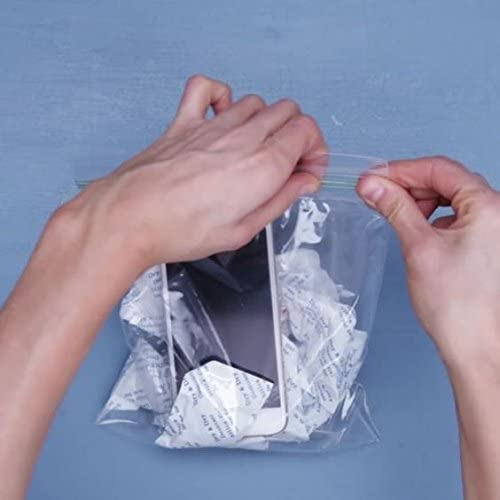 E-Cron 10 x 10 gr Silica Gel Tyvek Packets. Pure, Safe and Reusable Silica Gel Sachets Desiccant. Renewable Dehumidifier Pouches - Absorb Moisture.