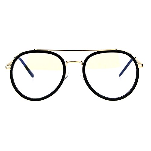 Retro Trend Plastic Metal Double Rim 90s Aviator Clear Lens Eye Glasses - Aviator Plastic Eyeglasses