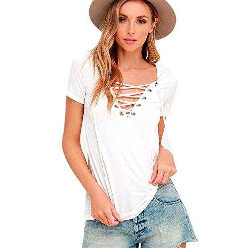 LHWY Mode Damen verlieren Pullover T Shirt Kurzarm Tops Shirt Bluse (S, Weiß)