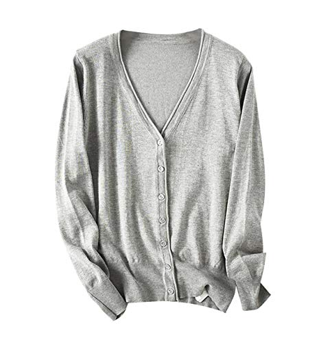HILLTOPTOCLOUD가 디 건 여성 V 넥 니트 긴 팔 베이직 무지 경상의 스웨터 매끄러운 터치 / HILLTOPTOCLOUD Cardigan Ladies V Neck Knit Long Sleeve Basic Plain Sheer Sweater Smooth Touch