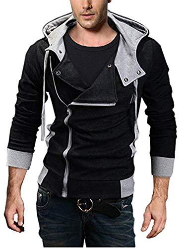 King Ma Men's Oblique Zipper Hoodie Casual Slim Fit Top Cosplay Costume Jacket Black -