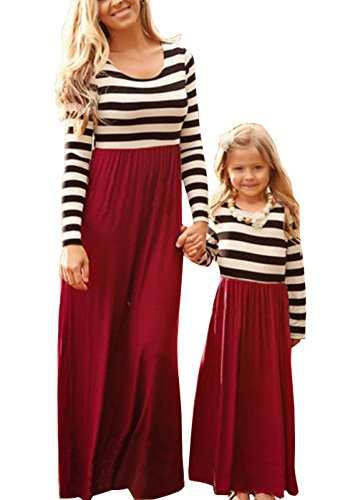 Summer Cute Mommy and Me Boho Striped Chevron Maxi Dresses (2T, Wine Red) -