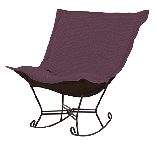 Howard Elliott Collection Heavenly Scroll Puff Rocker Metro Plum (Puff Rocker Chair Scroll)