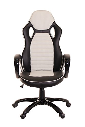 TimeOffice Ergonomic PU Leather High-Back Bucket Seat - Grey/Black - Comfort Executive Office Desk Chair With Racing Style Office Swivel Chair - Best Used For Computer Desk, Office, Gaming