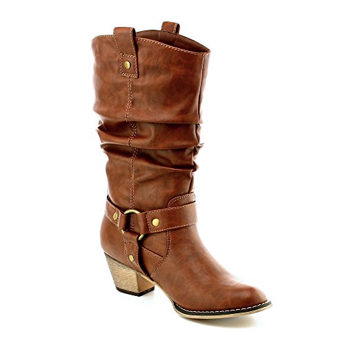 WestCoast Women's Mid Calf Cowboy Boots Distressed Slouchy O-Ring Studded Pull on Block Heel Riding Boots Tan 9 (Calf Brown Mid Boots)