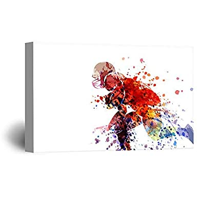 Canvas Wall Art Sports Theme - Watercolor Style Man Running a Football - Giclee Print Gallery Wrap Modern Home Art Ready to Hang - 12x18 inches