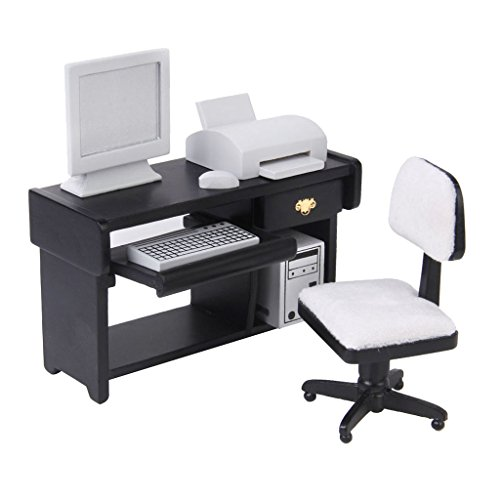 DYNWAVE Deluxe 1:12 Dollhouse Miniature Wooden Furniture Computer Desk Chair Printer Keyboard Monitor Set