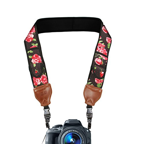 Cheap Accessories (TrueSHOT Camera Strap with Floral Neoprene Design , Accessory Pockets and Quick Release Buckles by USA Gear - Works With Canon , Fujifilm , Nikon , Sony and More DSLR , Mirrorless , Instant Cameras)