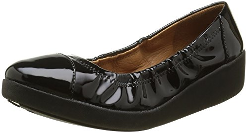 a571d68f5eb6b FitFlop Women's F-Pop Ballerina Patent Ballet Flat, All Black - Import It  ...