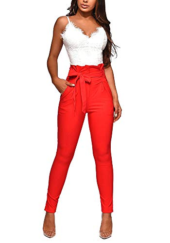 (Pencil Pants for Women High Waist Skinny Long Pants Trousers with Belt Red L)