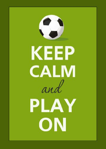 Rectangle Refrigerator Magnet - Keep Calm and Play On Soccer Ball Football w/ Border ()