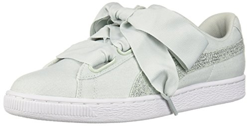 PUMA Women's Basket Heart Canvas Wn Sneaker Blue Flower-puma White-puma Silver