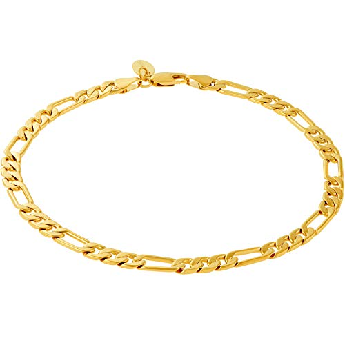 Lifetime Jewelry Ankle Bracelets for Women Men & Teen Girls [ 6mm Gold Figaro Chain Anklet ] 20X More Real 24k Plating Than Other Foot Jewelry - Lifetime Replacement Guarantee (10.0)