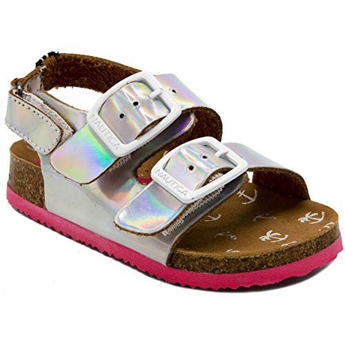 - Nautica Kids Grant Toddler Open Toe Sandal 2 Buckle Straps Comfort Slide Outdoor Back Strap Casual Sandals -Silver-7