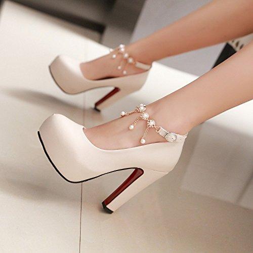 KHSKX-Sexy Schuhe Mit Hohen Absätzen Frauen - Ferse Wasserdicht Tabelle Koreanische Pearl Damenschuhe Frühling Und Herbst Frauen Schuhe. Apricot
