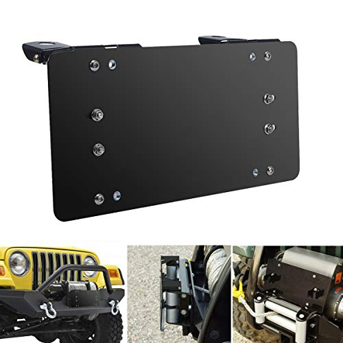 Samlight License Plate Bracket 8 3/4 Inch Flip-Up Winch Roller Fairlead Mount Holder Black Stainless Steel