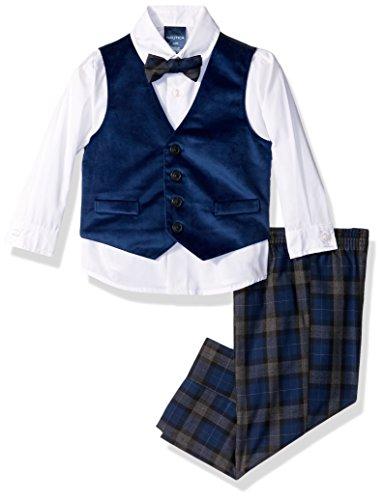 Nautica Boys' 4-Piece Formal Dresswear Vest Set with Bow Tie, Dark Blue Velvet, 18 Months ()