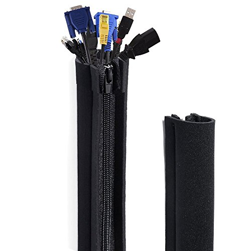 Cable Management Sleeve, Okela 20 Inches Premium Neoprene Cord Cover Sleeve Wire Hider Concealer Organizer Protector System, Zipper Design DIY by Yourself for Home , Office, TV, PC-4 Packs(Black)