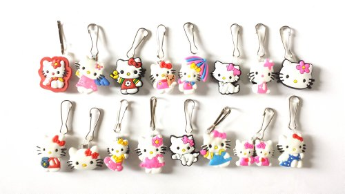 Kitty Soft Paws Costume (AVIRGO 16 pcs Zipper Pull / Zip pull Charms for Jacket Backpack Bag Pendant Set # 61-2)