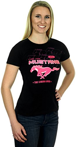 JH Design Women's Ford Mustang T-Shirt Collage a Short Sleeve Crew Neck Shirt (X-Large, CLG4-black/pink)